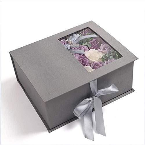 YJF-YSH Floral duftende Badeseife Rose Geschenkbox, Pflanze ätherisches Öl Rose Soap Petals Set zum Valentinstag Weihnachten Mutter Geburtstage,Lila