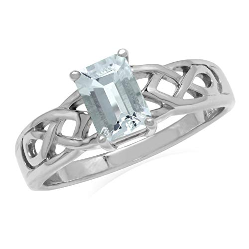 Silvershake 7X5mm Genuine Octagon Shape Aquamarine 925 Sterling Silver Celtic Knot Solitaire Ring Size 9