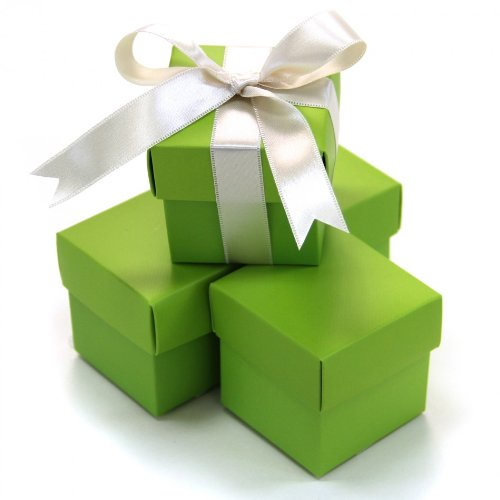 Koyal Wholesale 2-Piece Square Favor Boxes, 50-Pack, Lime Green