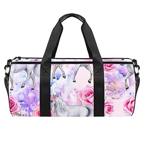 LAZEN Hombro Handy Sports Gym Bags Travel Duffle Totes Bag para Hombres Mujeres Modern Unicorn Fairies Magic Rose Floral