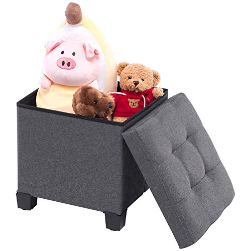 APICIZON 13quot Storage Ottoman Cube Foot Stool Collapsible Seat Foot Rest with Lid and Plastic Feet for Bedroom Living Room Dark Grey