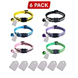 Elanz 6 Pack Reflective Breakaway Cat Collar with Bell & ID Tag – Adjustable, Super Soft, Durable Nylon Cat Collars – Multicolor with Safety Buckles & Weatherproof ID Tags for Kittens & Cats