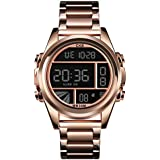 CKE Men's Digital Watch Large Face Waterproof Watches for Men with Stainless Steel Band
