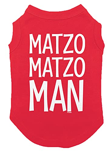 Matzo Matzo Man - Hanukkah Passover Seder Dog Shirt (Red, Large)