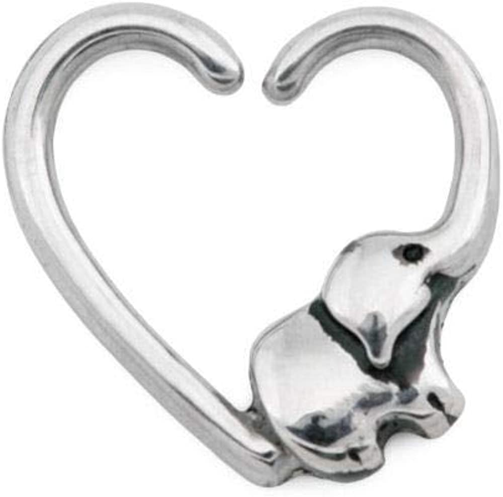 Painful Pleasures Heart Ear Clip Stainless Steel Bendable Ear Cuff, Right Facing, 16g Heart with Elephant Detail