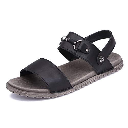 Liangcha-0401 Sandalias de Playa de Verano para Hombres Zapatos de Agua al Aire Libre Slipper resbalón en Chaquetas de Cuero Genuino Chaquetas borrosa Tobillo borroso (Color : Black, Size : 40 EU)