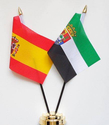 Espagne et Estrémadure l'amitié Drapeau de table écran 25 cm (25,4 cm)