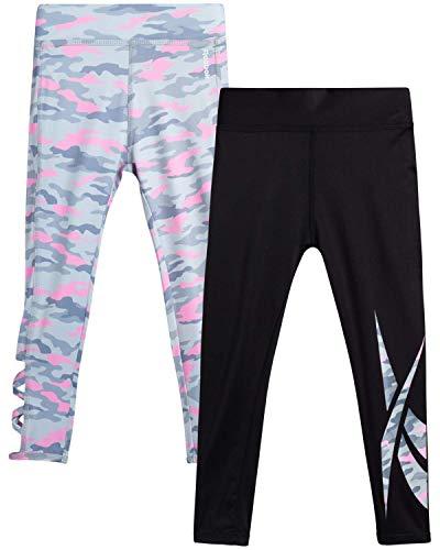 Reebok Girls' Athletic Leggings - Full Length Spandex Performance Sports Tights, Size 14-16, Grey Camo