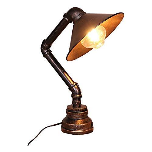 Moderne dekorative Lampenschirm Nachttisch Nordic Industrieller Rost Eisen Tischleuchte Wasserrohr Tischlampe Antike Steampunk Metallschreibtischlampe Nacht Beleuchtung-Befestigung for Nachtlese Kinde
