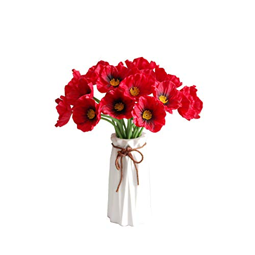 Mandy's 10pcs Red Poppy Artificial Flower for Wedding Home & Kitchen PU 12.5
