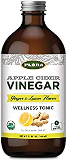 Flora Large Organic Apple Cider Vinegar Shots, Ginger & Lemon Herbs, 17 Ounce