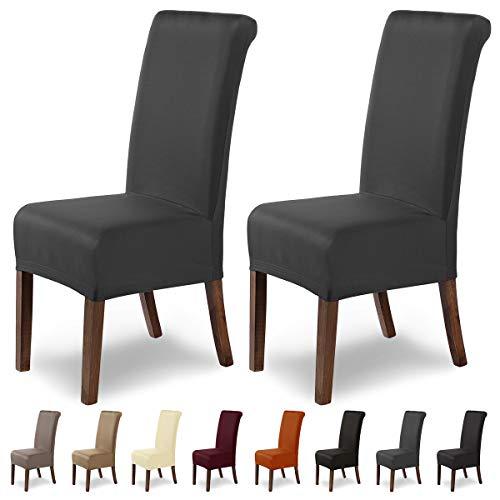 SCHEFFLER-Home Stretch Stuhlhusse Marie   2er Set elastische Stuhlabdeckungen mit Fleckschutz   Stuhlhussen Schwingstühle   Spannbezug mit Gummiband   Elegante Stuhlbezüge