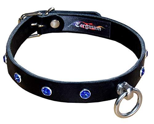 Edles BDSM Halsband Halsfessel Fessel mit blauen Swarovski Kristallen/SM Fetisch/Handarbeit