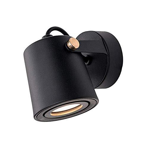 FEE-ZC Lámpara de Pared para Interiores LED 350 Grados Giratorio de un Solo Cabezal Ligero Moderno Mini Aplique de Pared Ajustable Luminaria de Metal Negro con Bombilla GU10 de