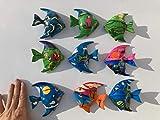 Set de regalo con diseño de peces de ensueño – 9 imanes de madera pintados a mano, postes restantes y segunda elección artículo en el juego, peces de fantasía, imán de pez