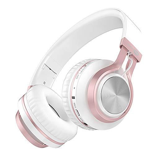 Baseman Wireless Bluetooth Headphones with Mic, On Ear Lightweight Foldable Wired Headphones, Hi-Fi Stereo Earphones Deep Bass Over Ear Headphone for Music Computer Laptop TV PC Kids(Pink White) 1