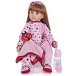 Reborn bébé poupées Rose 60 Cm 24 Pouces Cheveux Longs Petite Princesse Vinyle Souple Silicone Enfant en Bas âge poupées à la Main noël Anniversaire GIF