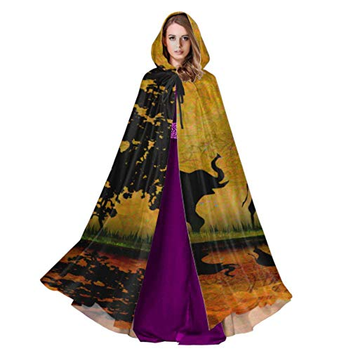 Safari in Africa Silhouette of Wild Animals Reflec Cloak Costume Adult Kids Cape Cloak 59inch for Christmas Halloween Cosplay Costumes