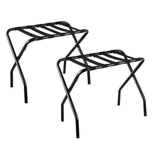 KINGSO Luggage Rack - Foldable Metal Suitcase Stand-Luggage Rack for Guest Room,(Black)