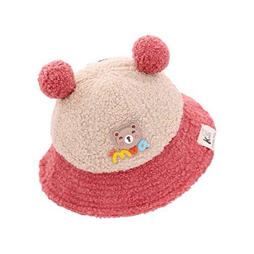 CENT Sombrero de Cubo Invierno para Bebé Estilo Dibujos Animados Lindo ala Ancha Vellón Peludo Protección UV Sombrero de Pescador