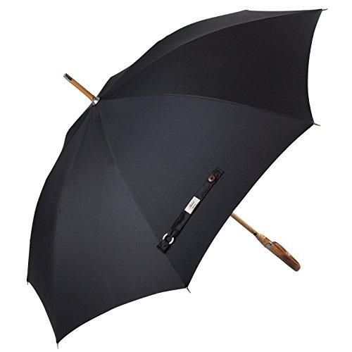 Balios Prestige Gehstock, Regenschirm, luxuriöses Kastanienholz, gebogener Griff, Bambus-Schaft, winddichter Fiberglas-Rahmen, automatisches Öffnen 300T feinster Stoff