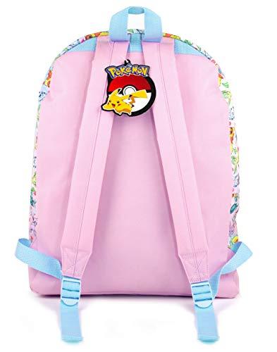 41WsyGuit8L - Mochila Escolar del brillo del rosa de Pokemon Pikachu Eevee Besties de chica