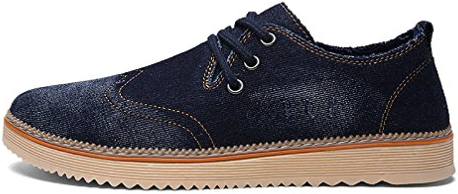 Men's canvas shoes, fashion and leisure men's canvas shoes, pure color casual shoes,Deep bluee,Forty