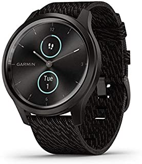 Garmin vívomove Style, Hybrid Smartwatch with Real Watch Hands and Hidden Color Touchscreen Displays, Graphite with Black ...