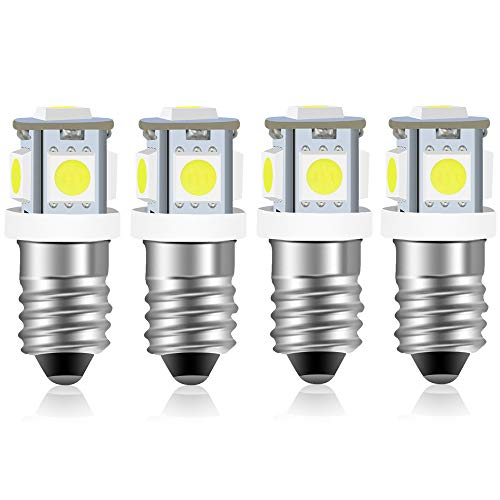 E10 Miniature Screw Base 12V Spot LED Light Bulb, Bonlux 1W E10 Dashboard Light Replacements 12V Flashlight Torch Work Light, Daylight, 4-Pack