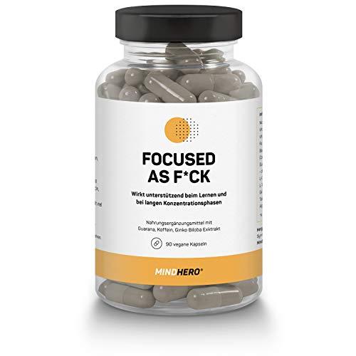 Mindhero® Focus | Unterstützend beim Lernen - mit Guarana, Koffein, Ginko Biloba Extrakt | 90 Konzentration Caps - Nahrungsergänzungsmittel - vegan
