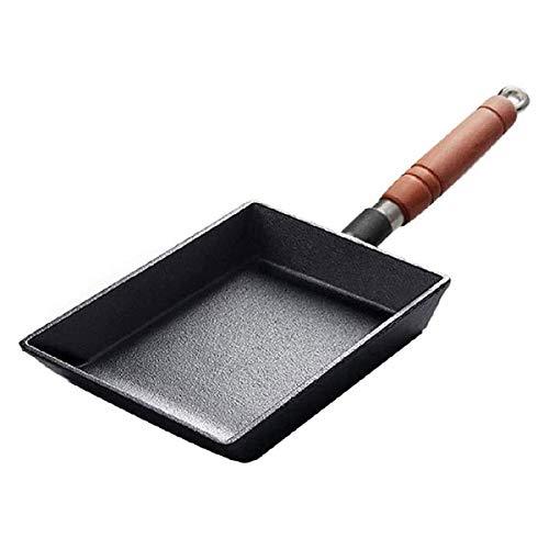 LYYJIAJU Kitchen Nonstick Frying Pans Stainless Steel Non Stick Pan Saute Wok,Pancake Pan Steak Pan Egg Pan, Wooden Handle Pancake Pot