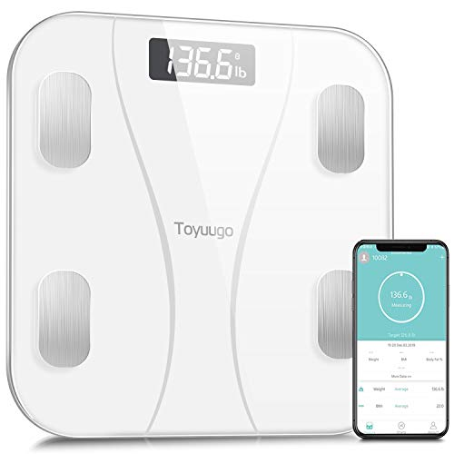 Toyuugo Bluetooth Body Fat Scale, Smart Wireless BMI Bathroom Weight Scale Body Composition Monitor Health Analyzer with Smartphone App for Body Weight, Fat, Water, BMI, BMR (White)