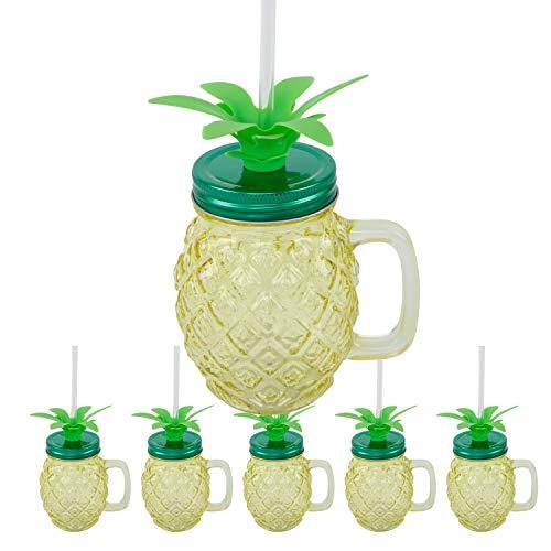 Roomando Trinkglas 6er Set mit Deckel und Strohhalm Glas Gläser Cocktailglas Ananas Tropical