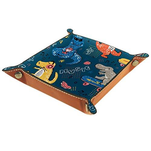 Bandeja de dados, plegable de cuero para dados, para juegos de dados, D&D y otros juegos de mesa, dinosaurios de dibujos animados, notas musicales de amor