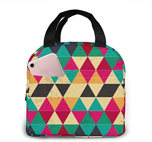 Bolsa de almuerzo con patrón de figura sólida Bolsa de almuerzo reutilizable Bolsa de viaje Bento con cordón de picnic, bolsillo frontal