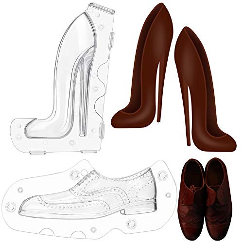 Nuogo 2 Size 3D Woman High Heel Shoe Chocolate Fondant Cake DIY Pastry Baking Tool Maker Mold Silicone DIY Fondant Mold DIY Crystal Jelly Lady Shoes Mould for Kitchen Baking
