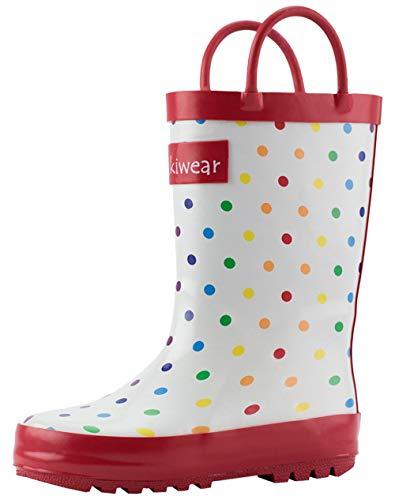 OAKI Toddler Rain Boots Rainbow Polka Dots 9T