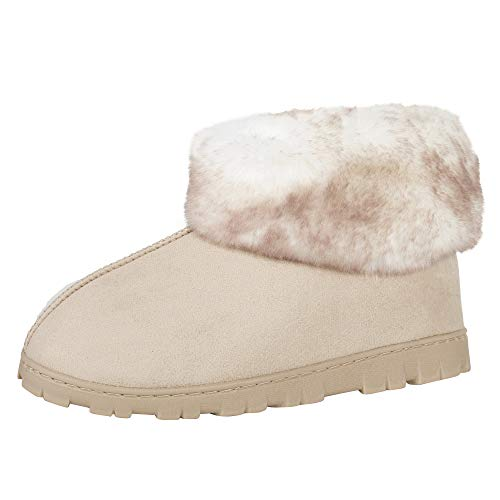 Jessica Simpson Women's and -Girls Microsuede Super Soft Bootie Slippers with Indoor Outdoor Sole, Sand, Large