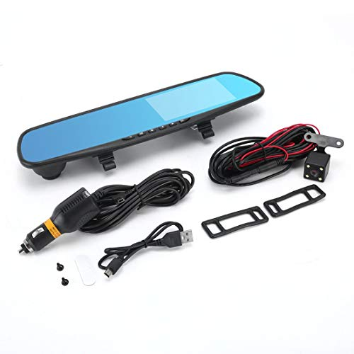 BiaBai Coche DVR Espejo Cámara dual 4.3'Lente dual Dash Cam Recorder Full HD 720P Cámaras de vista trasera Estacionamiento Vista trasera Videocámara de video