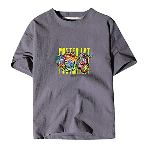 T-Shirt Men's Printing Casual Pure Color Cotton Linen Short Sleeve Loose Tops (XXL,3Gray)