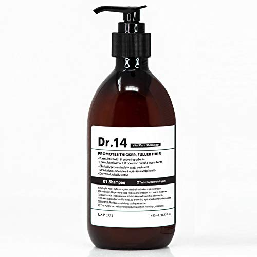 LAPCOS Dr.14 Vital Care Shampoo, (16.2 Fl. Oz.) Biotin Hair Growth Shampoo, Clinically Proven Scalp Treatment for Thinning Hair and Hair Loss, Gentle Formula with Natural Ingredients for Men and Women
