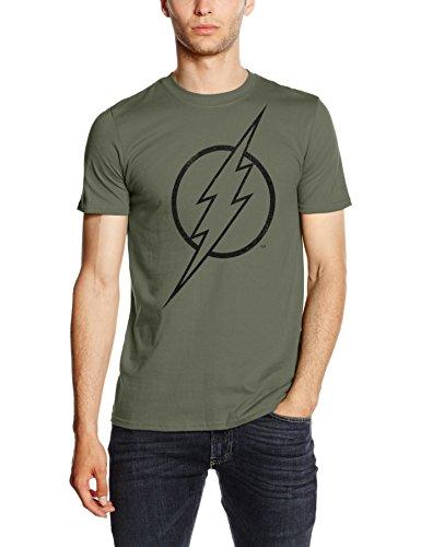 DC Comics Camiseta Manga Corta Flash Line Logo Verde Militar M