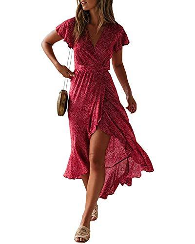 Style Dome Sommerkleid Damen Sexy Blumen Crop V-Ausschnitt Strandkleid Asymmetrisch Volant Kurzarm Partykleid Rot-E11390 M