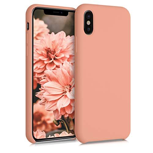kwmobile Hülle kompatibel mit Apple iPhone X - Handyhülle gummiert - Handy Hülle in Grapefruit Pink