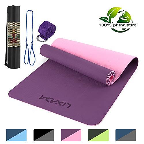 Lixada - Esterilla de yoga TPE para pilates con correa de transporte y bolsa de almacenamiento, 72 x 24 pulgadas antideslizante para gimnasio en casa, Dos