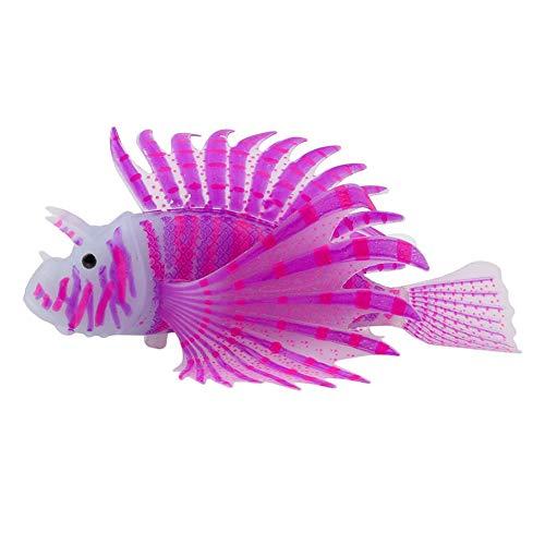 Aquarium Artificial Rotfeuerfisch Lila Fisch-Beh?lter-Dekor-Simulation Rotfeuerfisch Glühendes Silikon Rotfeuerfisch Haus-