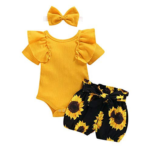 Geagodelia - Conjunto de ropa para bebé recién nacido, camiseta de manga larga + pantalón impreso + diadema Jaune Manche Courte 0-3 Meses