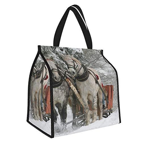Bolsa de almuerzo de invierno con diseño de caballos, ideal para llevar a caballo o para el almuerzo, ideal para el trabajo y para la escuela, para mujeres, hombres y mujeres