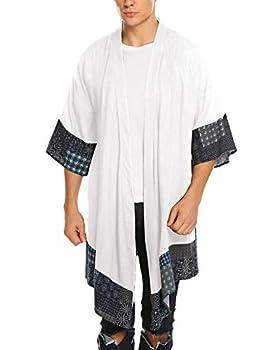 COOFANDY Men s Ruffle Shawl Collar Cotton Cardigan Long Kimono Jackets Open Front Drape Cape Coat White