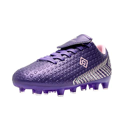 DREAM PAIRS Girls Mega-2k Soccer Cleats Football Shoes Light Purple Pink Size 1 Little Kid